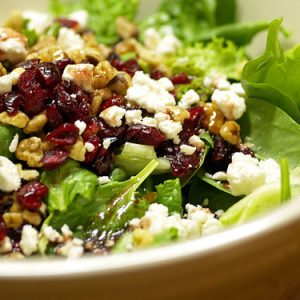 Mixed Greens with Goat Cheese, Cranberries and Walnuts