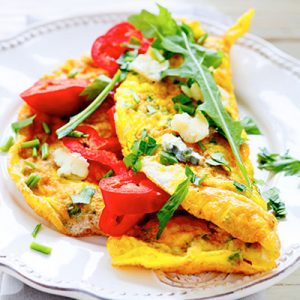 Vegetable Omelet with Feta Cheese