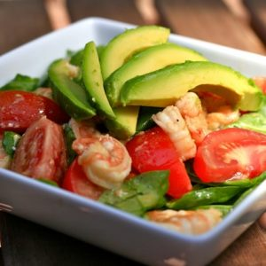 Shrimp, Walnut, Avocado Salad with Light Balsamic Vinaigrette